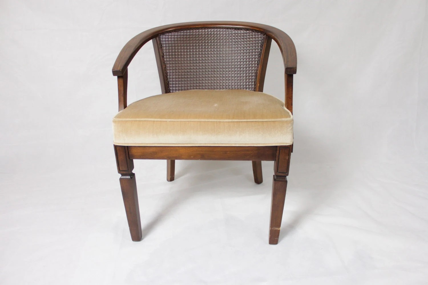 how to replace cane back chair with fabric elastic covers as seen on tv reserved pair of vintage barrel chairs open arms