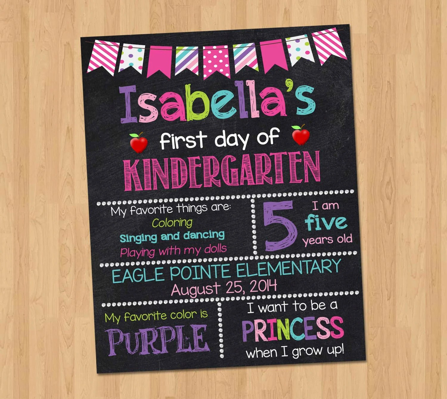 First Day Of School Sign First Day Of Kindergarten
