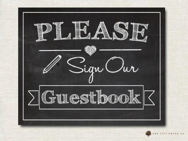 Please Sign Our Guestbook Sign Printable Chalkboard