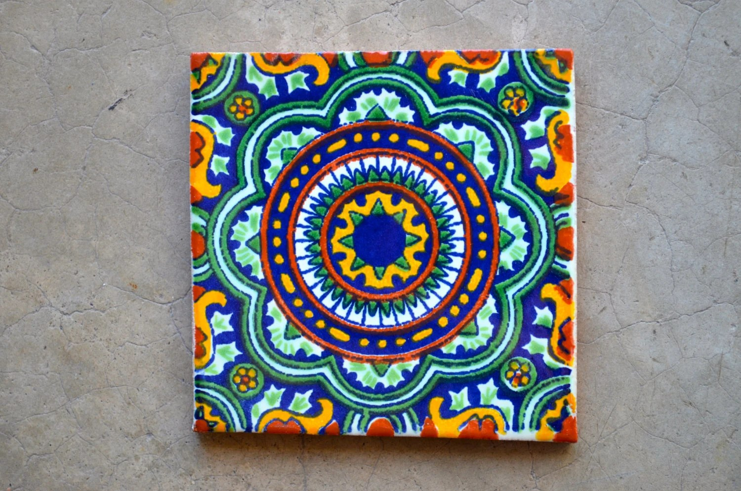124 Mexican Talavera Tiles handmade Hand painted 4 X