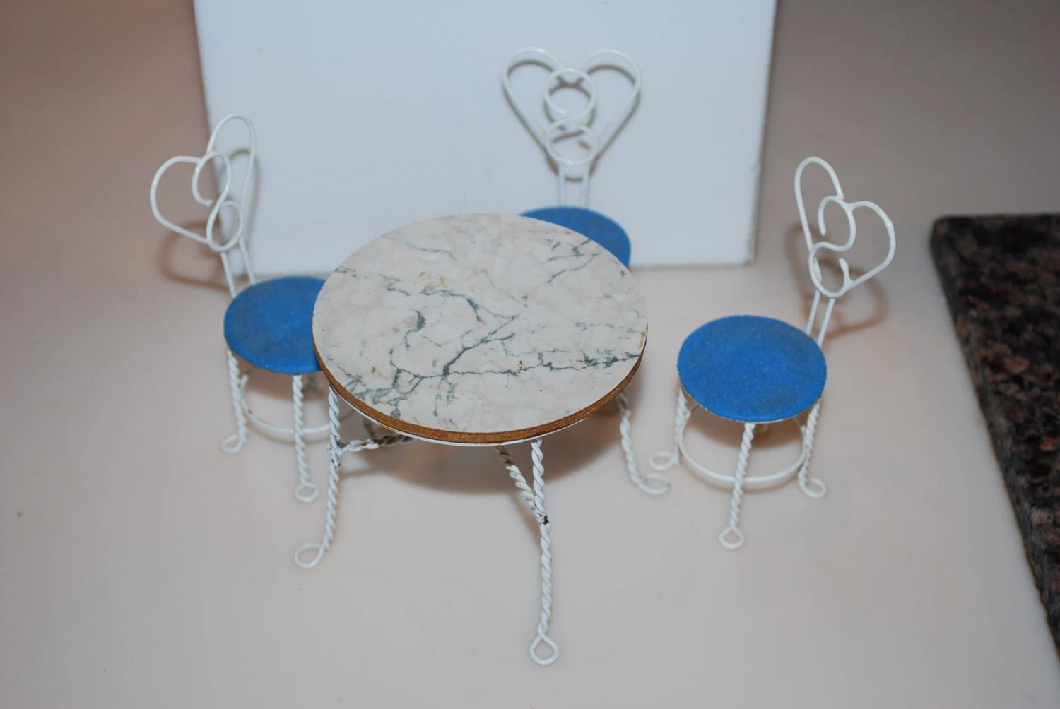 ice cream table and chairs vinyl chair webbing dollhouse shackman white blue bistro set