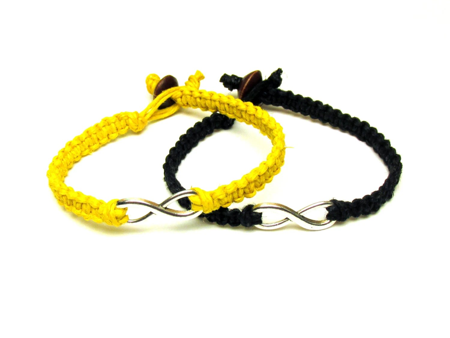 Infinity Bracelets Set of Two, Bright Yellow and Black Macrame Hemp Jewelry for Couples or Best Friends - MandarrCreations