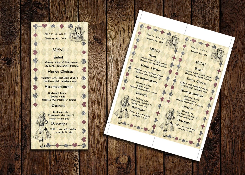 Printable Menu Card Template – Alice In Wonderland