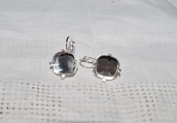 12mm Earrings Square Style 4470 Jewelry Setting for Swarovski