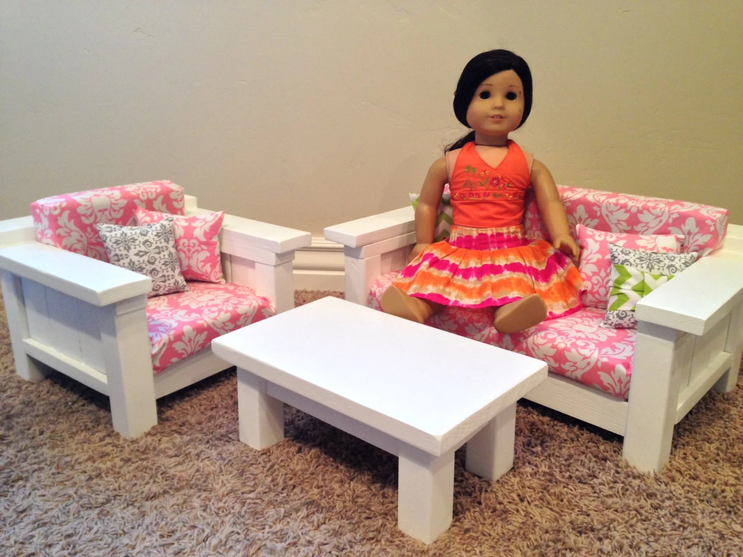 american girl high chair rattan accent on sale 18 doll furniture size 3 pc
