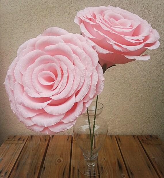 Groe helle Rosa KreppPapier Blume Rose Hochzeit Blumen