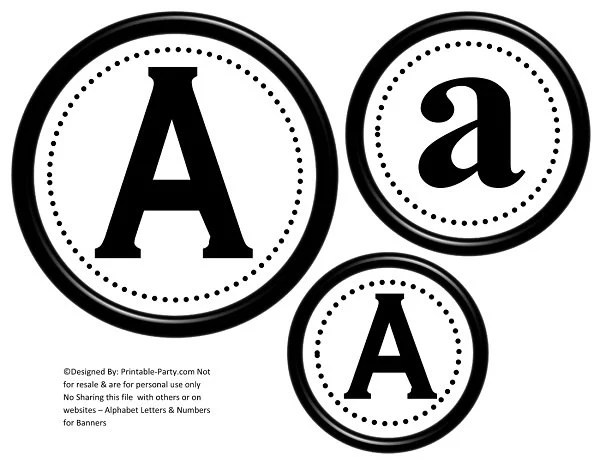 Printable Banner Letters Black and White Letters Make your