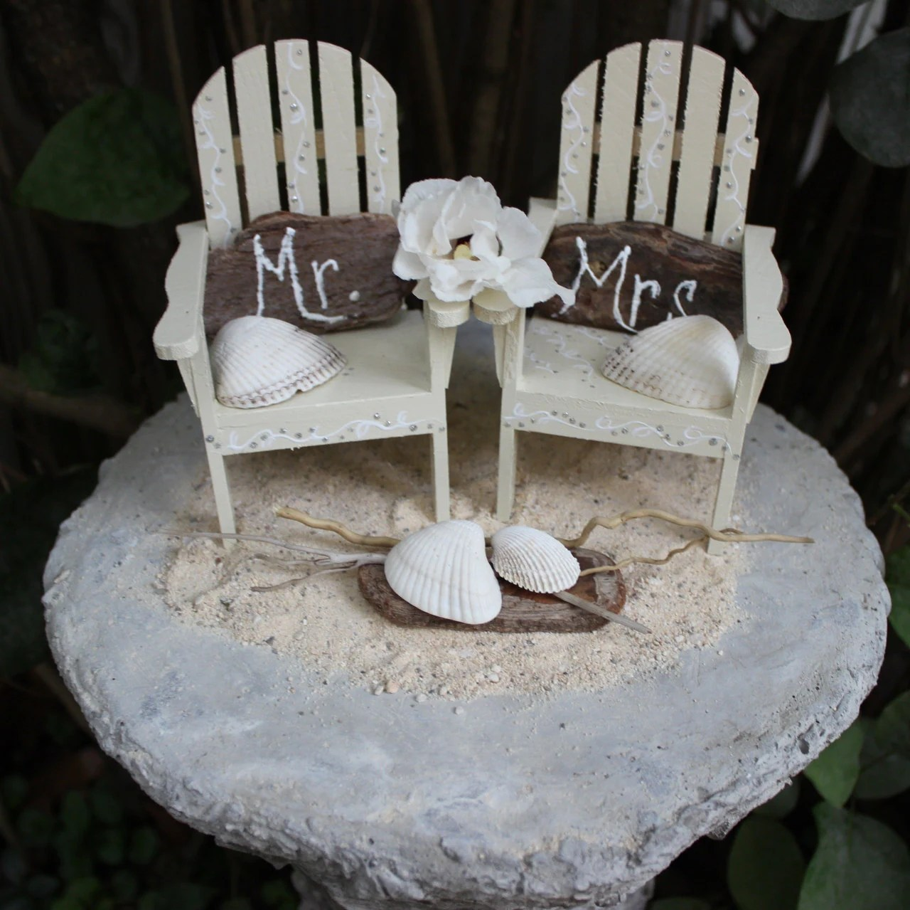 beach wedding chair decoration ideas chairs for waiting rooms unique coastal cake topper set by elalakedesign