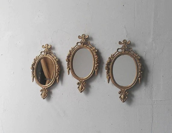 Small Oval Wall Mirrors Set Of Three In Traditional Gold Mid