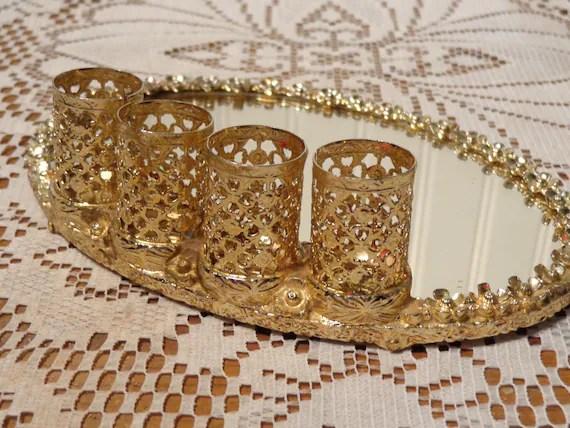 Vintage Gold Filigree Vanity Mirror Tray With Lipstick Holder
