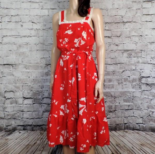 70s Red Sundress 1970s Floral Vintage Cotton Poetryforjane