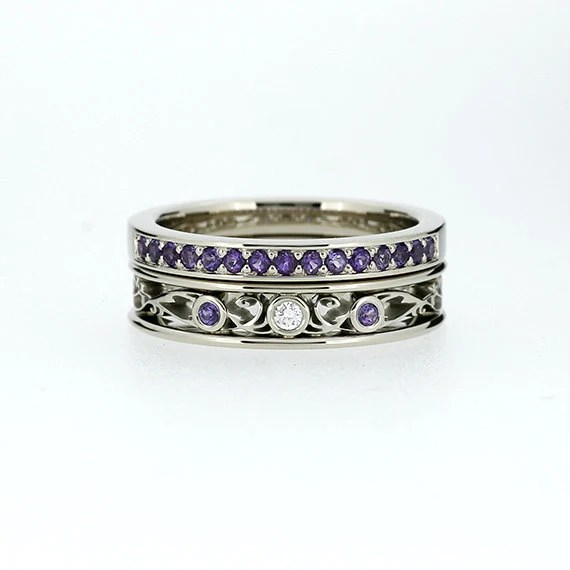engagement ring set Filigree ring Amethyst wedding band
