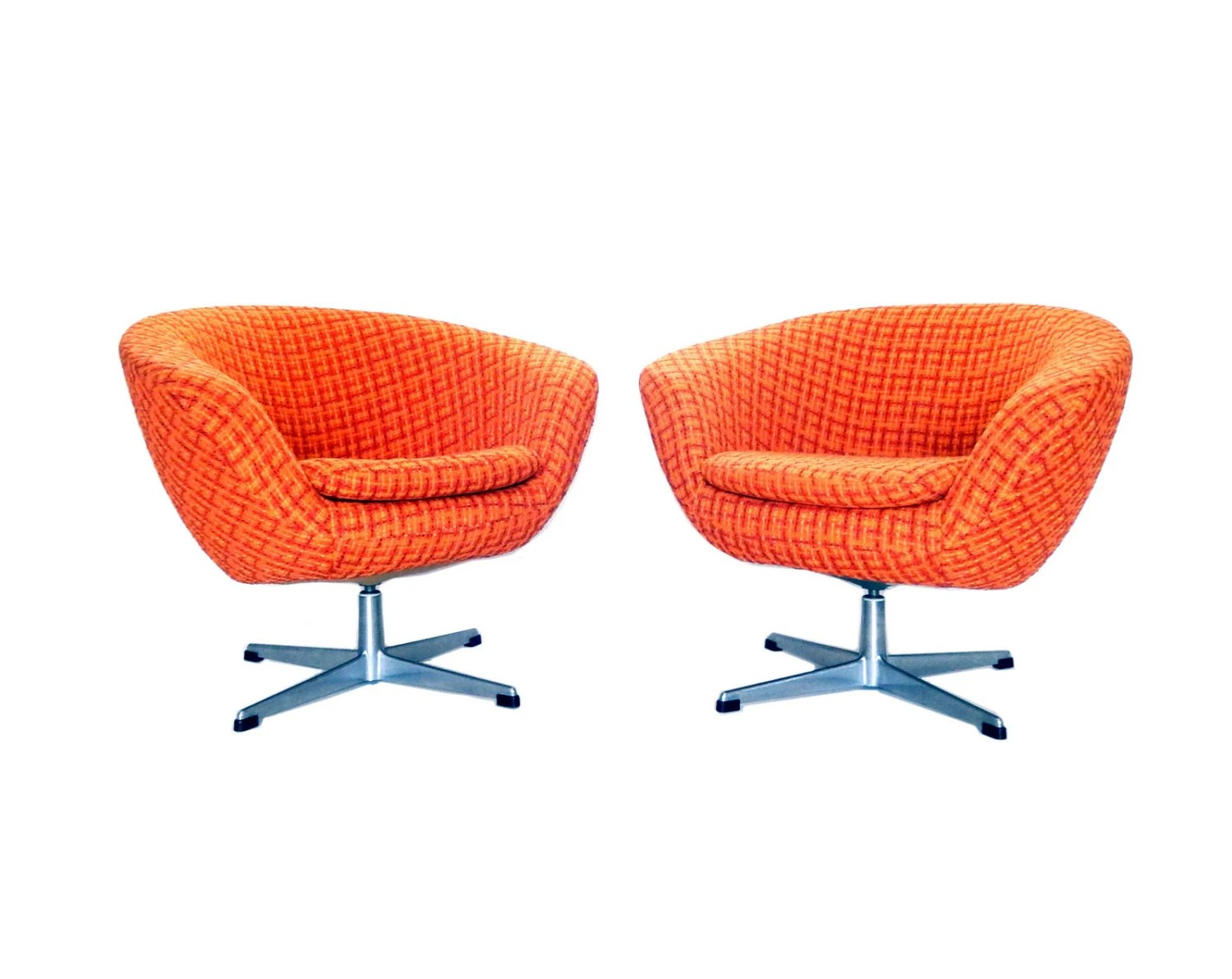 Pod Chairs Reserved Pair Of Orange Overman Pod Chair Mid Century Modern