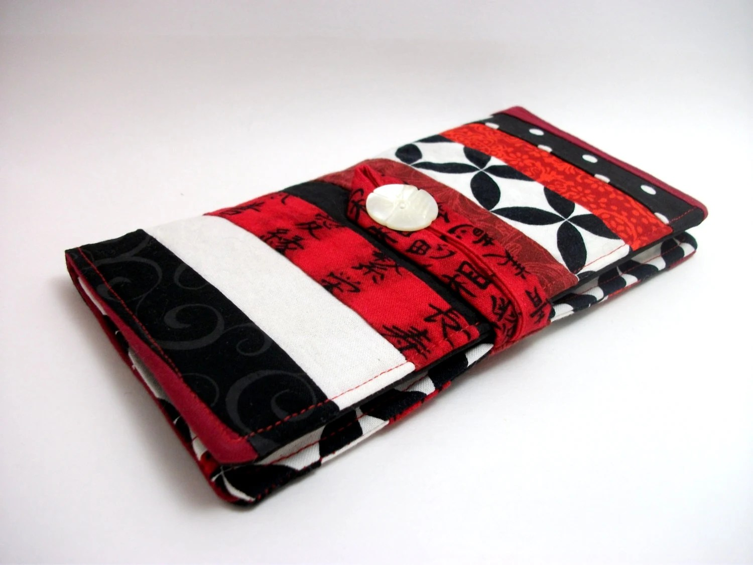 """Patchwork """"Fire"""" - Lady's Deluxe Wallet - flame print fabric, black and white with red, OOAK, fabric clutch - ChangelingStudio"""
