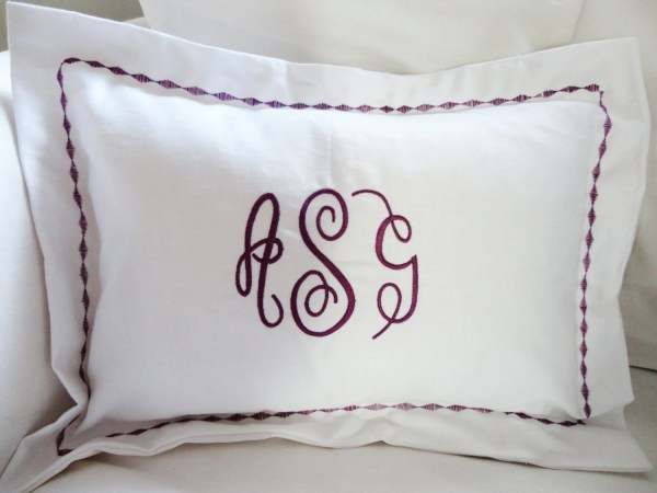 Monogram Boudoir Pillow Sham With Custom Embroidered Border