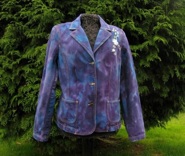 Denim Blazer Xl Crazy Horse Women Jacket Purple Blue Bohemian