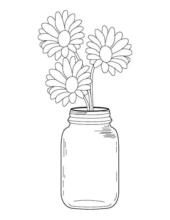Mason Jar Daisy Bouquet Coloring Page