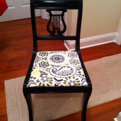 Where To Get Chairs Reupholstered Club Chair With Wheels Vintage Lyre Back Accent Black Gloss