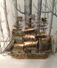 RESERVED Mid Century Brass Brutalist Ship Wall Sculpture Boat