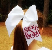 hair bows glitter monogram cheer