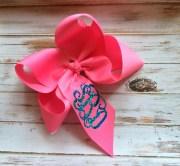 glitter monogram hair bow monogrammed