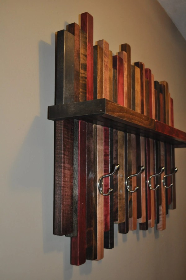 Rustic Wood Coat Rack with Shelf