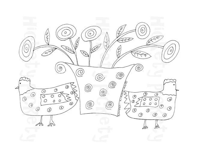 Primitive Stitchery Pattern Embroidery Chickens by