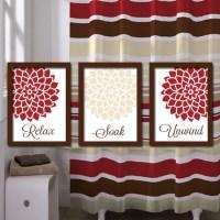 Red Beige BATHROOM Wall Art CANVAS or Prints Bathroom by ...