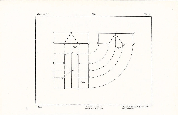 1907 Technical Drawing Print Vintage Antique Art