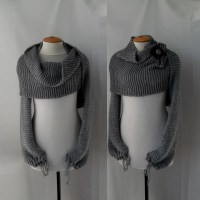 Sweater scarf shawl with sleeves at both ends in grey. FREE