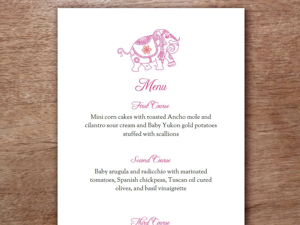 Pink Indian Elephant Printable Menu Template Wedding Menu