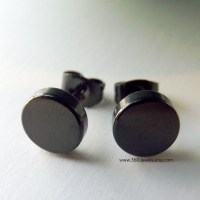 Mens Earrings Thick Steel Disc Earrings for Men by 360Jewels