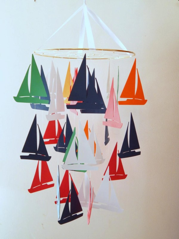 Sailboat Nautical Nursery Mobile Flutters