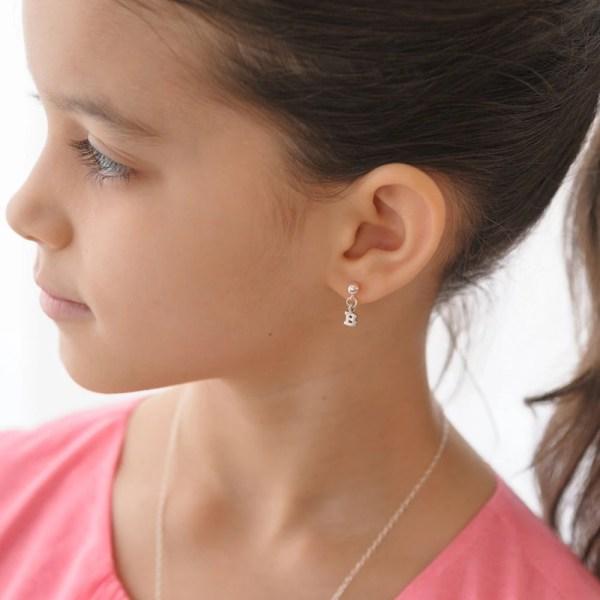 Initial Earrings Little Girls Post Sterling Silver Letters