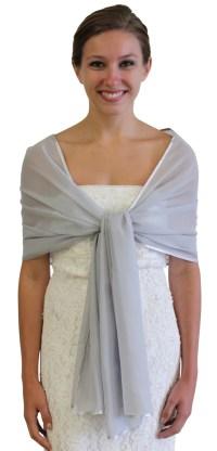 Chiffon Bridal Wrap Stole Silver Chiffon Shawl by TionDesign