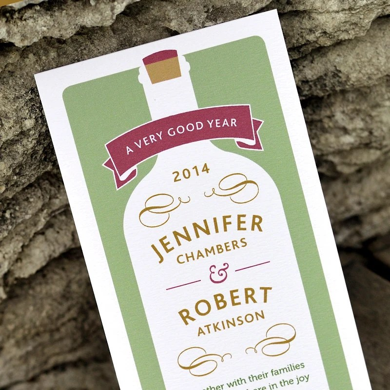 Modern vineyard wedding invitation wine bottle rustic for Modern winery wedding invitations
