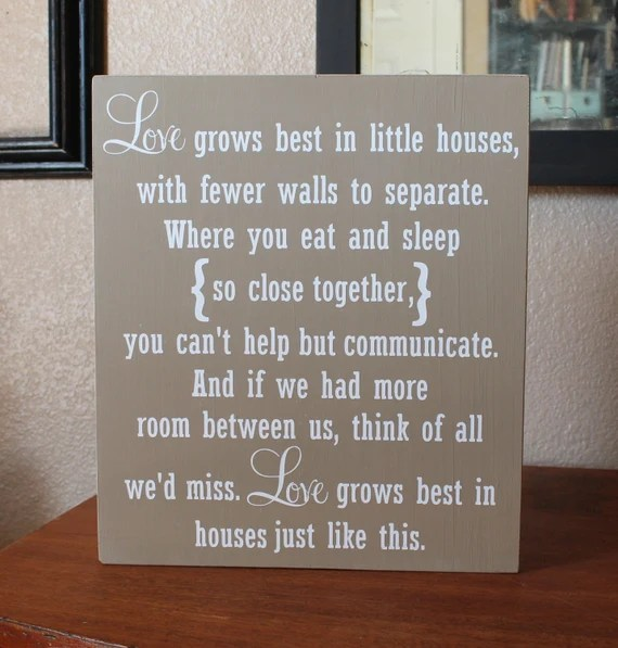 Download Love Grows Best In Little Houses Hand Painted Wood Sign