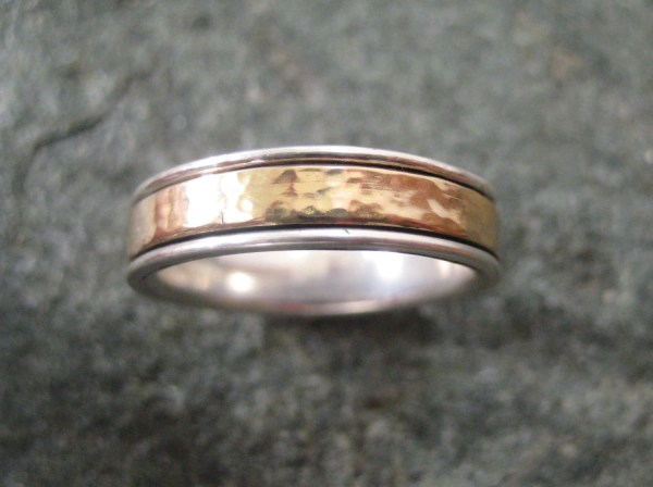 Gold Wedding Band Meditation Ring Of 14kt And Sterling