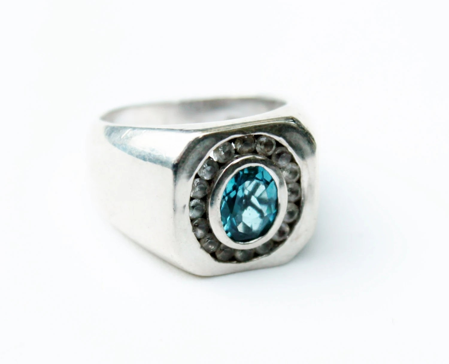 Vintage Mens Silver Blue Topaz Ring
