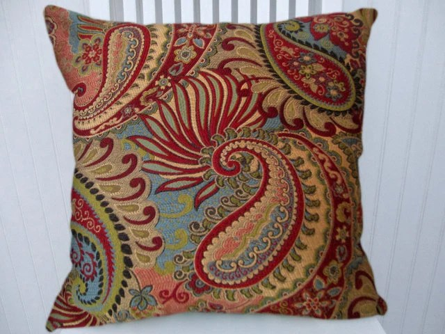 Turquiose Red Paisley Decorative Throw Pillow Cover 18x18 or