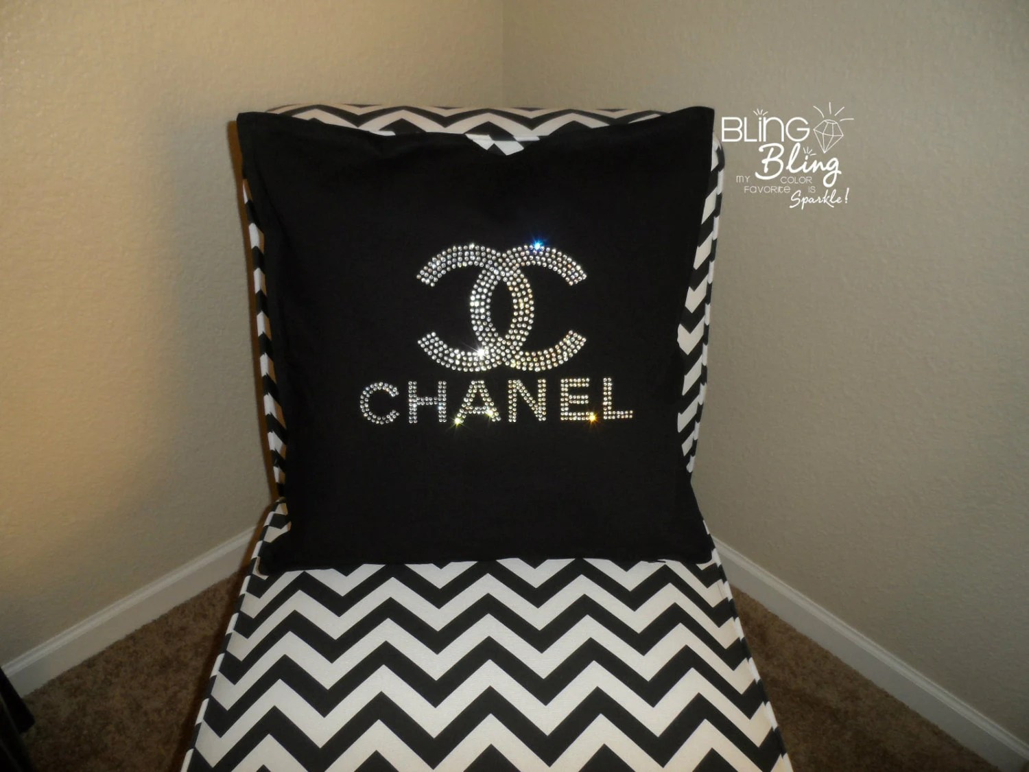 black glitter chair covers slipcovers for wing chairs bling strass chanel kissen