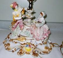 Vintage Capodimonte Figurine Table Lamp In Italy Massive
