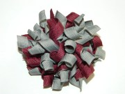 burgundy & gray korker hair bow