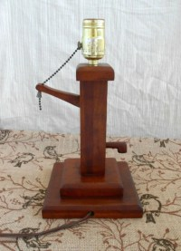 Wooden Water Pump Lamp Vintage 1960's Hand Made by my3luvbugs