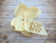 glitter monogram hair bow