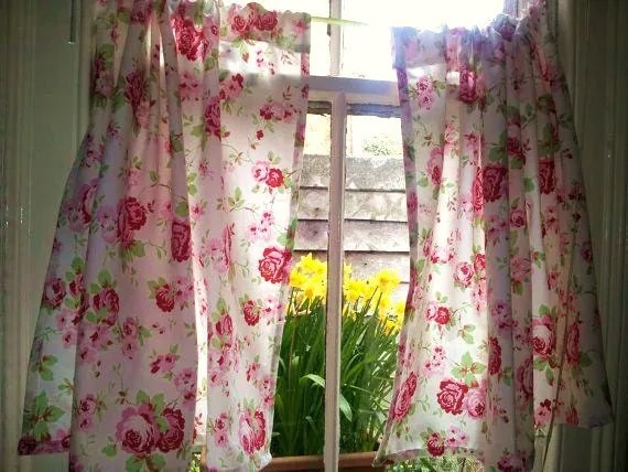 Window Curtains Shabby Chic Curtains Kitchen Curtains Sheer