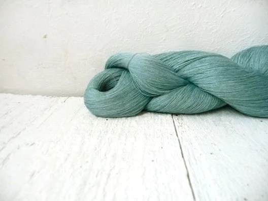 Linen Thread skein in metallic blue color with little green shade - YarnStories