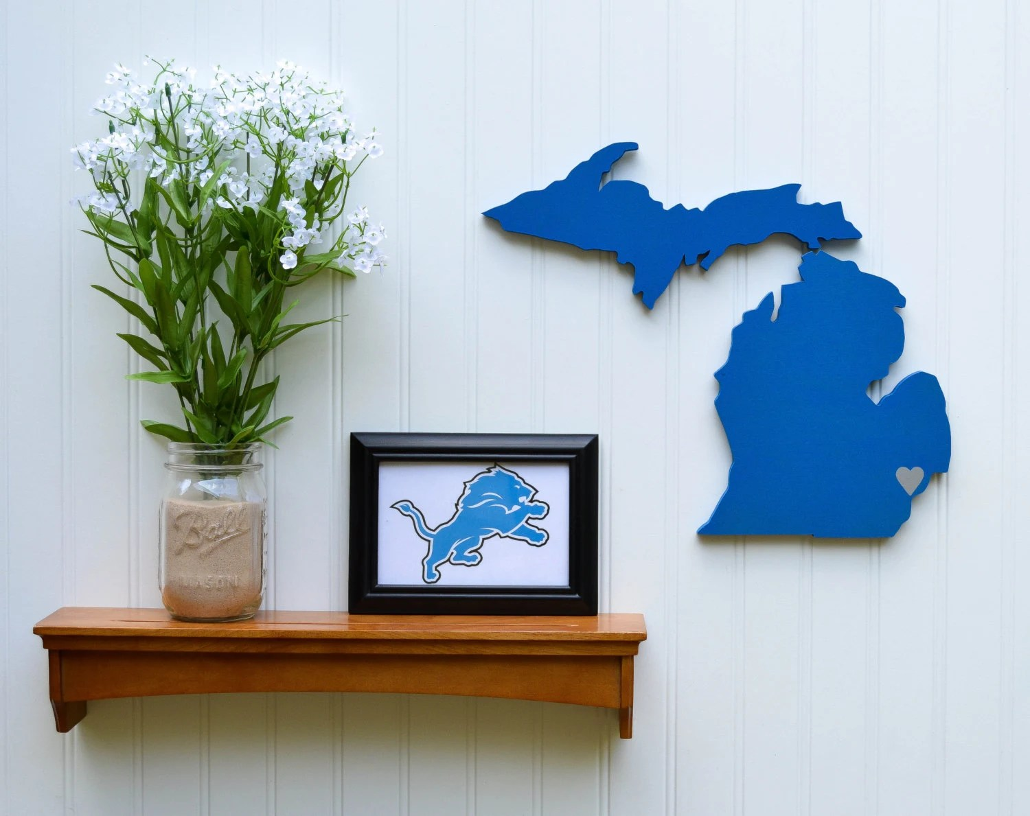 Detroit Lions State Heart wall art handcrafted
