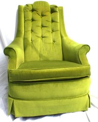 Vintage Mid Century Modern Green Velvet High Back Arm Chair