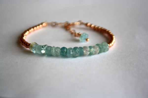 Aquamarine And Rose Gold Bracelet 14k Filled Beaded